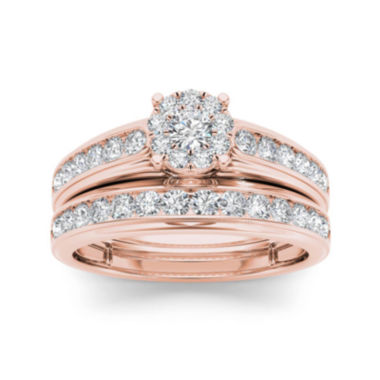 jcpenney.com | 1 1/2 CT. T.W. Diamond 10K Rose Gold Bridal Ring Set