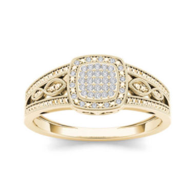 jcpenney.com | 1/10 CT. T.W. Diamond 10K Yellow Gold Engagement Ring