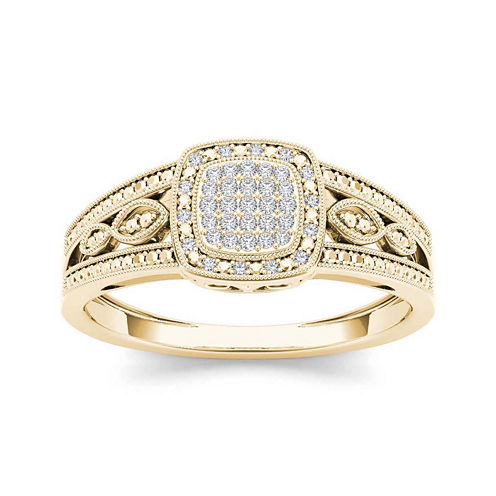 1/10 CT. T.W. Diamond 10K Yellow Gold Engagement Ring