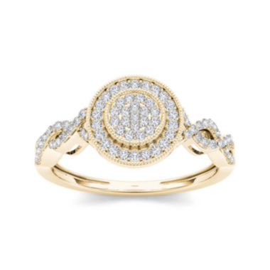 jcpenney.com | 1/5 CT. T.W. Diamond 10K Yellow Gold Cluster Engagement Ring