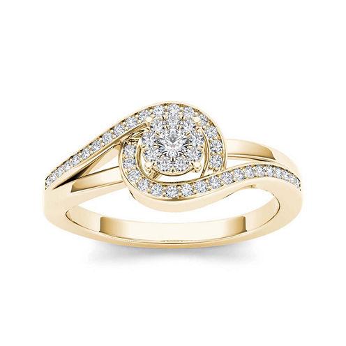 1/5 CT. T.W. Diamond Swirl 10K Yellow Gold Engagement Ring