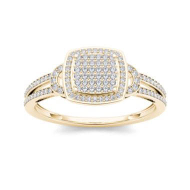 jcpenney.com | 1/3 CT. T.W. Diamond Cluster 10K Yellow Gold Engagement Ring