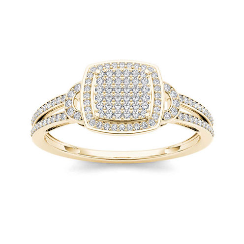 1/3 CT. T.W. Diamond Cluster 10K Yellow Gold Engagement Ring
