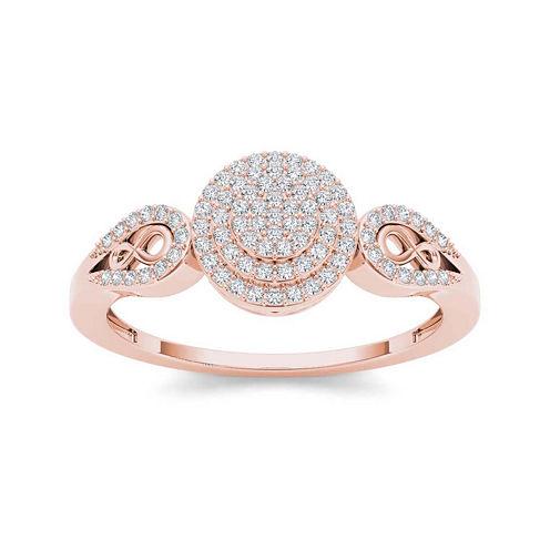 1/5 CT. T.W. Diamond 10K Rose Gold Infinity Engagement Ring