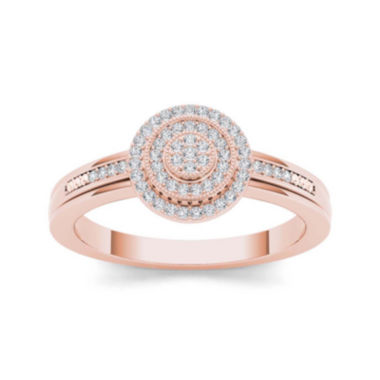 jcpenney.com | 1/6 CT. T.W. Diamond 10K Rose Gold Round Cluster Engagement Ring