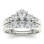 1 1/2 CT. T.W. Diamond 14K White Gold Bridal Ring Set
