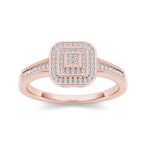 1/6 CT. T.W. Diamond 10K White Rose Engagement Ring