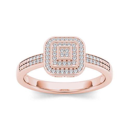 1/6 CT. T.W. Diamond 10K Rose Gold Engagement Ring