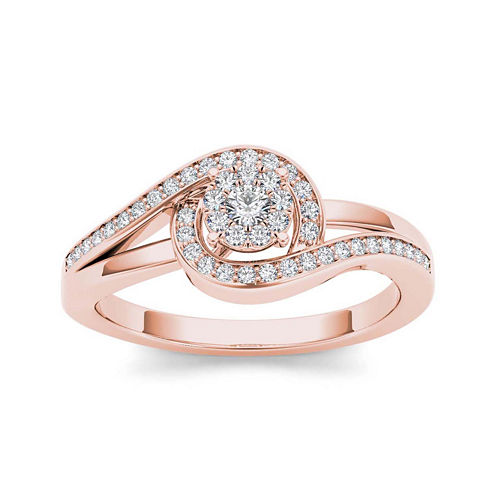 1/5 CT. T.W. Diamond Swirl 10K Rose Gold Engagement Ring