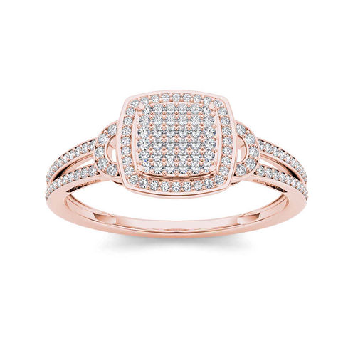 1/3 CT. T.W. Diamond Cluster 10K Rose Gold Engagement Ring