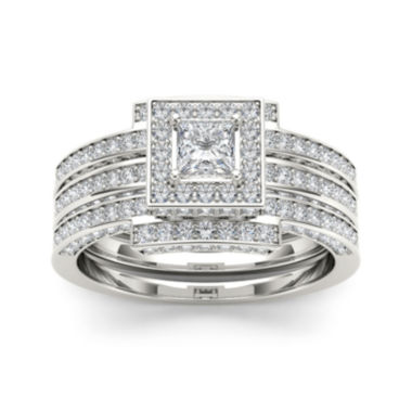 jcpenney.com | 1 1/2 CT. T.W. Diamond 14K White Gold Bridal Ring Set