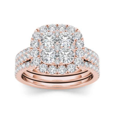jcpenney.com | 2 CT. T.W. Diamond 14K Rose Gold Bridal Ring Set