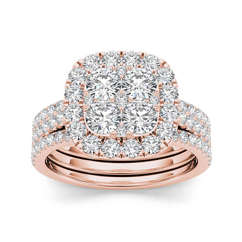 2 CT. T.W. Diamond 14K Rose Gold Bridal Ring Set