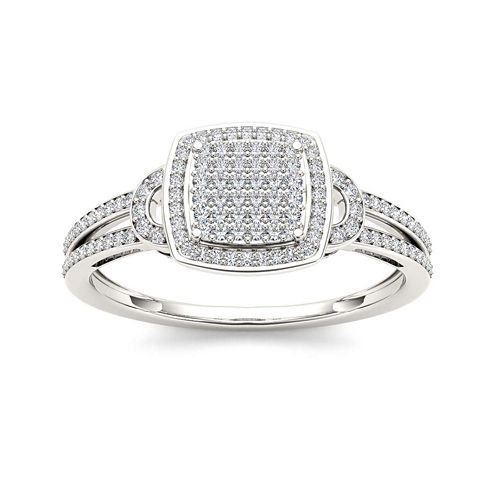 1/3 CT. T.W. Diamond Cluster 10K White Gold Engagement Ring