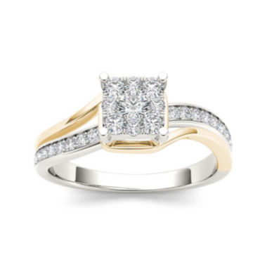 jcpenney.com | 1/2 CT. T.W. Diamond 10K Two-Tone Gold Engagement Ring
