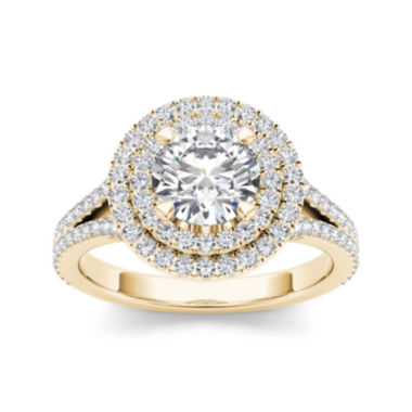 jcpenney.com | 1 1/2 CT. T.W. Diamond 14K Yellow Gold Halo Engagement Ring