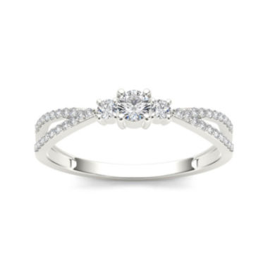 jcpenney.com | 1/4 CT. T.W. Diamond 10K White Gold 3-Stone Engagement Ring