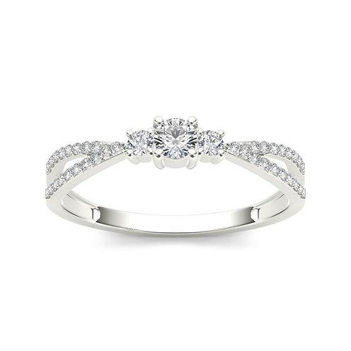 1/4 CT. T.W. Diamond 10K White Gold 3-Stone Engagement Ring