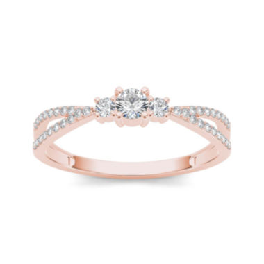 jcpenney.com | 1/4 CT. T.W. Diamond 10K Rose Gold 3-Stone Engagement Ring
