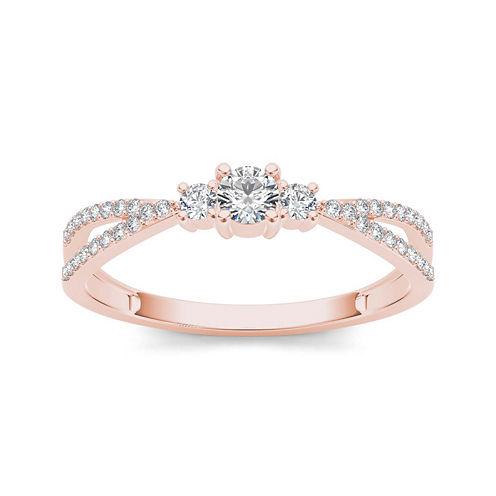 1/4 CT. T.W. Diamond 10K Rose Gold 3-Stone Engagement Ring