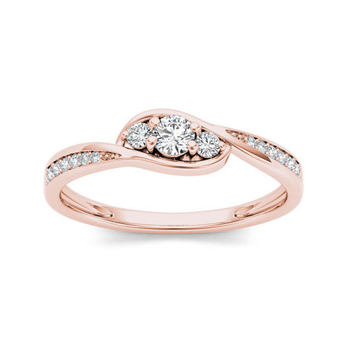 1/5 CT. T.W. Diamond 10K Rose Gold 3-Stone Engagement Ring