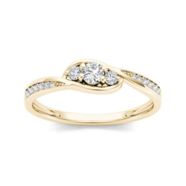 jcpenney.com | 1/5 CT. T.W. Diamond 10K Yellow Gold 3-Stone Engagement Ring