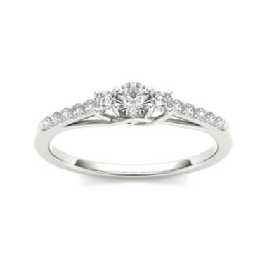 jcpenney.com | 1/3 CT. T.W. Diamond 10K White Gold 3-Stone Engagement Ring
