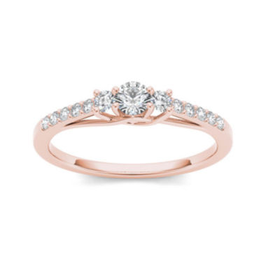jcpenney.com | 1/3 CT. T.W. Diamond 10K Rose Gold 3-Stone Engagement Ring