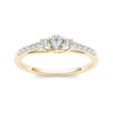 jcpenney.com | 1/3 CT. T.W. Diamond 10K Yellow Gold 3-Stone Engagement Ring