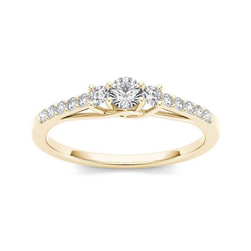 1/3 CT. T.W. Diamond 10K Yellow Gold 3-Stone Engagement Ring