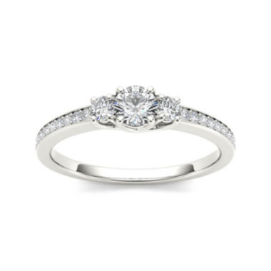 jcpenney.com | 1/2 CT. T.W. Diamond 14K White Gold 3-Stone Engagement Ring
