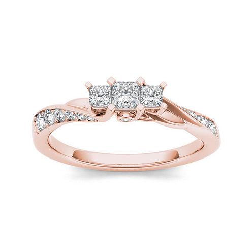 1/2 CT. T.W. Diamond 10K Rose Gold 3-Stone Engagement Ring