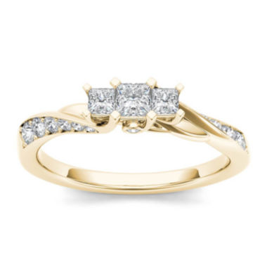 jcpenney.com | 1/2 CT. T.W. Diamond 10K Yellow Gold 3-Stone Engagement Ring
