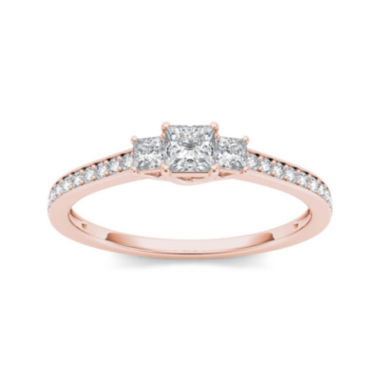 jcpenney.com | 1/2 CT. T.W. Diamond 14K Rose Gold 3-Stone Engagement Ring