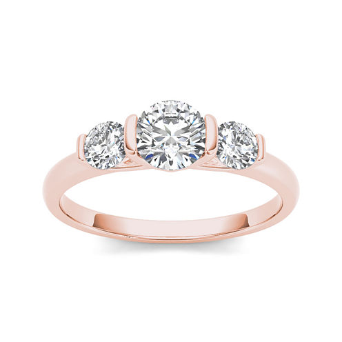 1 1/4 CT. T.W. Diamond 14K Rose Gold 3-Stone Engagement Ring