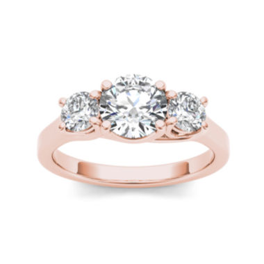 jcpenney.com | 1 1/2 CT. T.W. Diamond 14K Rose Gold 3-Stone Engagement Ring