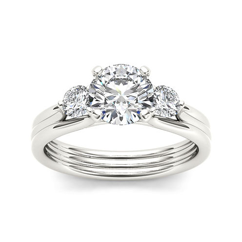 1 1/2 CT. T.W. Diamond 14K White Gold 3-Stone Engagement Ring
