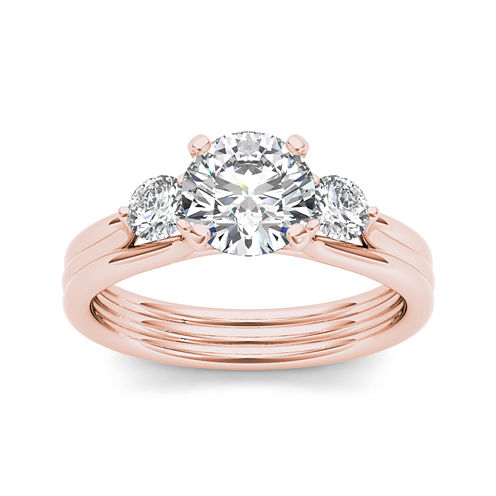 1 1/2 CT. T.W. Diamond 14K Rose Gold 3-Stone Engagement Ring