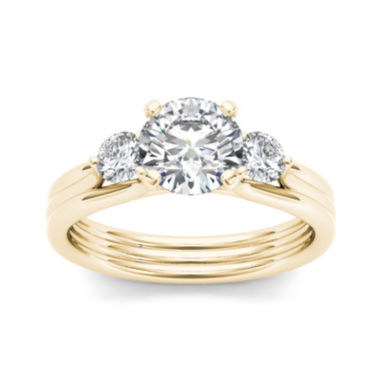 jcpenney.com | 1 1/2 CT. T.W. Diamond 14K Yellow Gold 3-Stone Engagement Ring