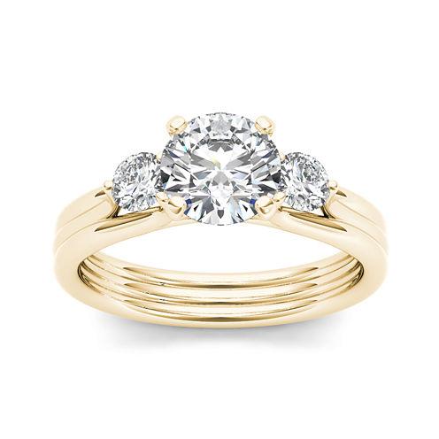 1 1/2 CT. T.W. Diamond 14K Yellow Gold 3-Stone Engagement Ring