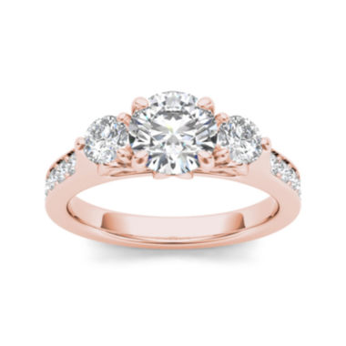 jcpenney.com | 2 CT. T.W. Diamond 14K Rose Gold 3-Stone Engagement Ring