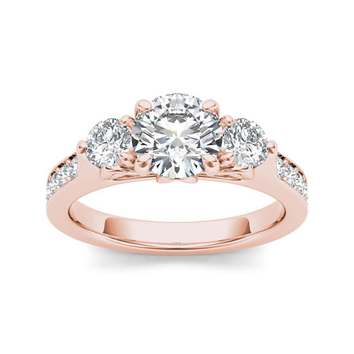 2 CT. T.W. Diamond 14K Rose Gold 3-Stone Engagement Ring