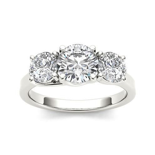 2 CT. T.W. Diamond 14K White Gold 3-Stone Engagement Ring