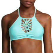 Arizona Macrame High-Neck Halter Swim Top - Juniors