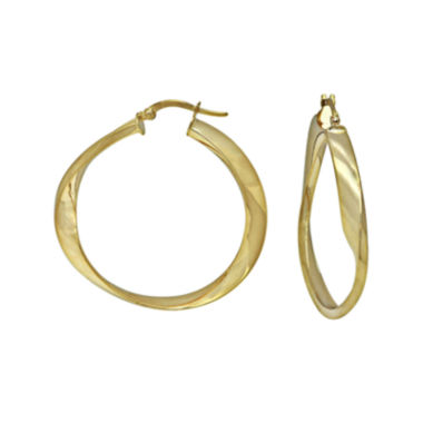 jcpenney.com | 14K Yellow Gold Twisted Polished Hoop Earrings