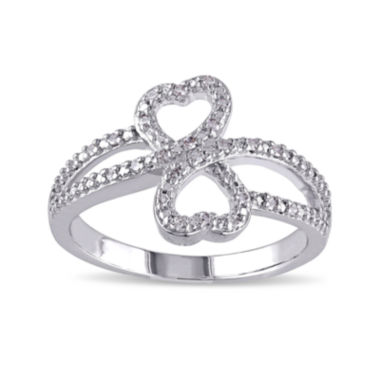 jcpenney.com | 1/10 CT. T.W. Diamond Sterling Silver Heart Ring