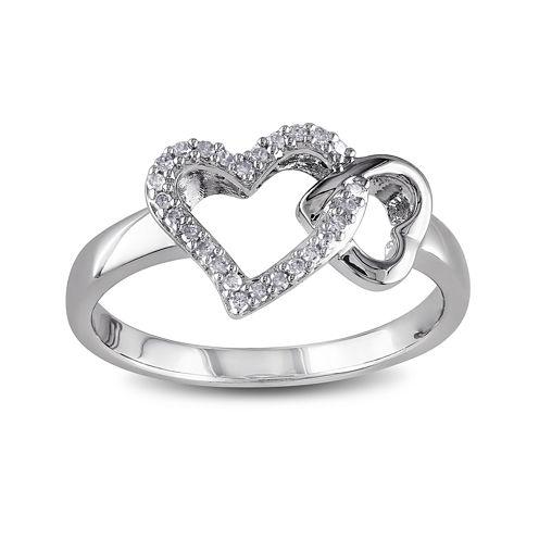 1/10 CT. T.W. Diamond Sterling Silver Heart Ring
