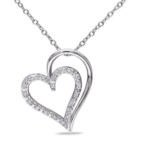 1/10 CT. T.W. Diamond Sterling Silver Heart Pendant