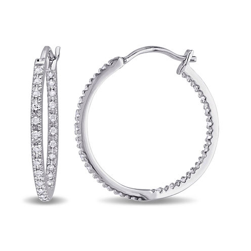 1/4 CT. T.W. Diamond Sterling Silver Hoop Clip Earrings