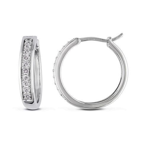 1/3 CT. T.W. Diamond Sterling Silver Hoop Clip Earrings